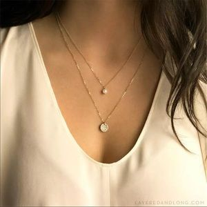 Double Layer Pearl and Circle Disc Necklace